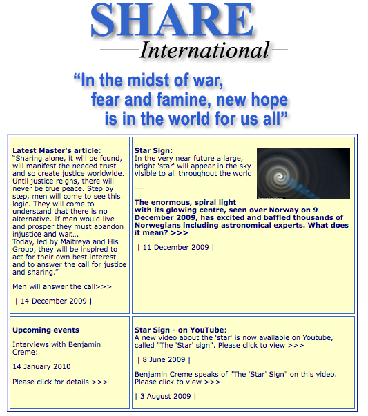 Screen capture from Share International's current main page.